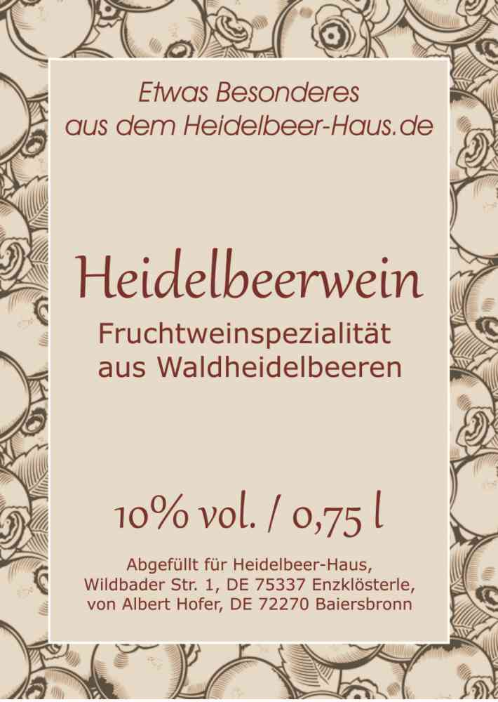 Heidelbeer-Wein, 0,75l